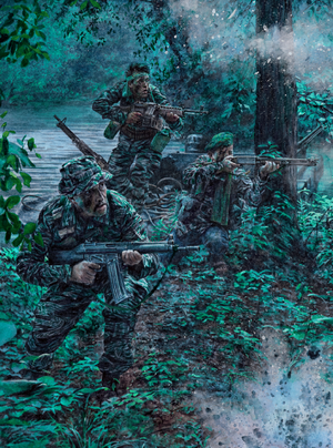 Three SEALs lay down a hail of moto against Viet Cong on the river